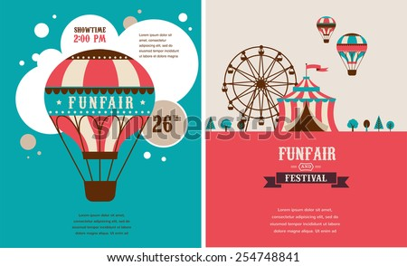 vintage poster with carnival, fun fair, circus vector background and illustration - stock vector