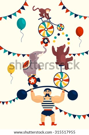 Vintage poster with carnival, fun fair, circus vector background and illustration. - stock vector
