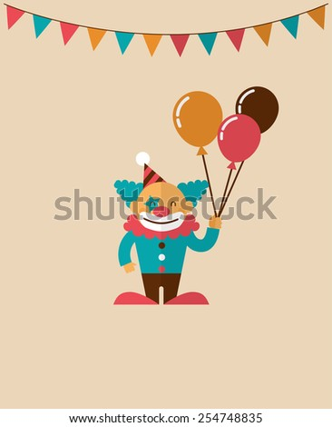 vintage poster with clown, fun fair, circus vector background and illustration - stock vector