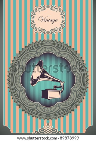 Vintage poster with gramophone. Vector illustration. - stock vector