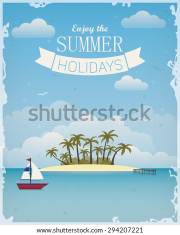 Vintage poster with seaside view - stock vector