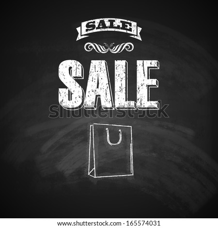 vintage poster with shopping bag. sale concept. vector illustration with chalkboard texture   - stock vector