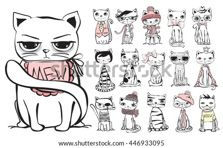 Vintage poster with stylish cat. Vector trendy hipster style greeting card design, t-shirt print