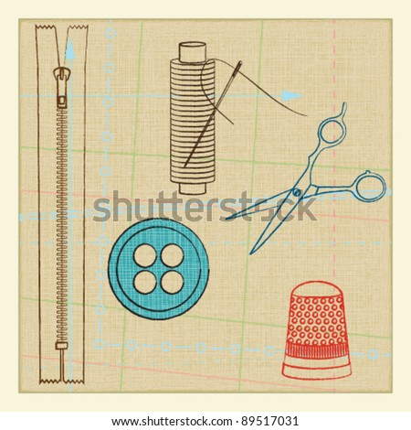 Vintage poster with tailoring elements 2 - stock vector