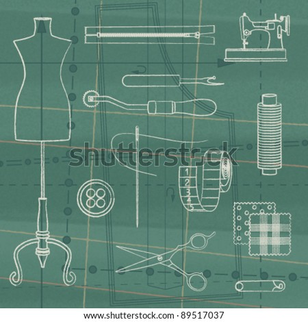 Vintage poster with tailoring elements 3 - stock vector