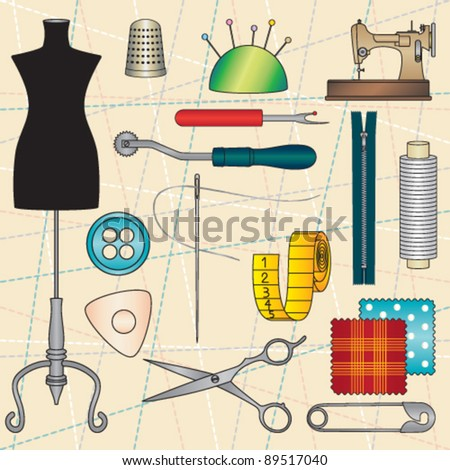 Vintage poster with tailoring elements 4 - stock vector