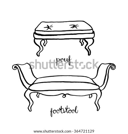 Vintage pouf and footstool/ Vintage furniture/ Interior design elements/ Hand drawn ink sketch illustration isolated on white background - stock vector
