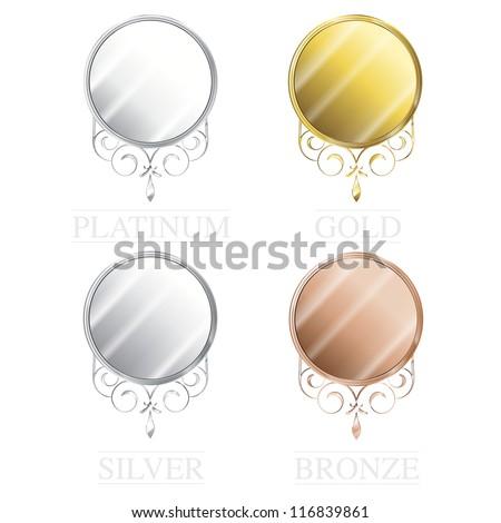 Vintage precious metal seals set - stock vector