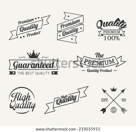 Vintage premium quality label vector set - stock vector