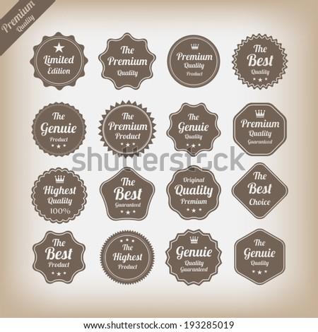 Vintage premium quality labels set. - stock vector