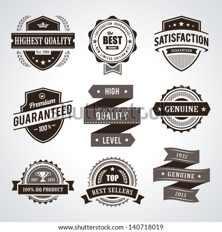 Vintage premium quality labels. Set of retro styled badges. Vector illustration. - stock vector