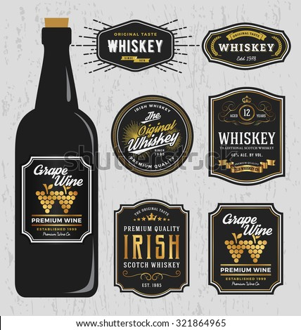Vintage Premium Whiskey Brands Label Design Template, Resize able and free font used. Vector illustration - stock vector