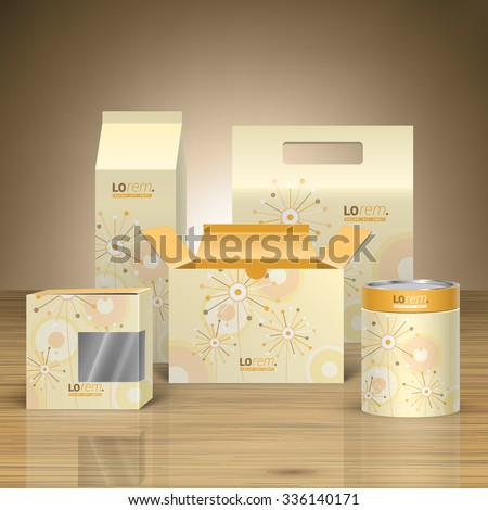 Vintage promotional package design for corporate identity with creative flowers and art round elements. Stationery set - stock vector