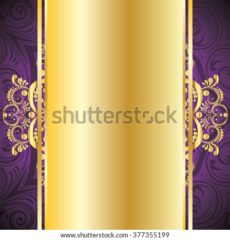 Vintage purple background with decorative gold ribbon and floral ornament. - stock vector