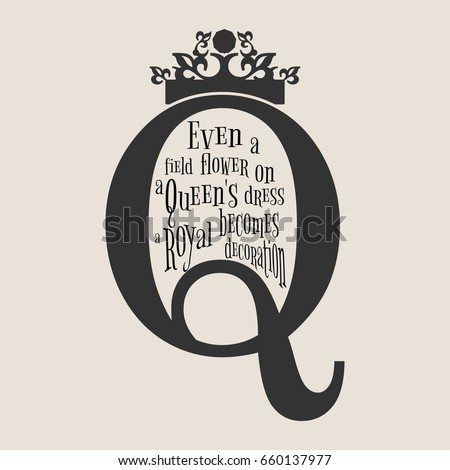 Vintage queen crown silhouette royal emblem stock vector royalty royal emblem with q letter quote even a field flower reheart Image collections