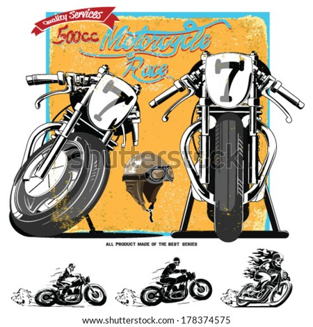 vintage race car and motorcycle for printing.vector old school race poster.retro race car and motorbike vector set.race motorbike illustration vector set - stock vector