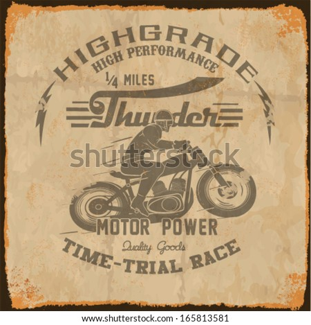 vintage race car and motorcycle for printing.vector old school race poster.retro race motorbike set - stock vector