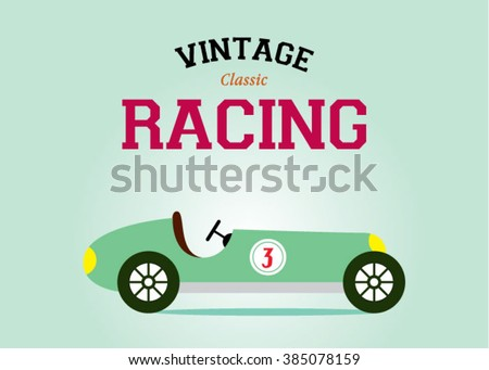 vintage race car classic poster vector illustration - stock vector