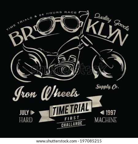 vintage race motorcycle for printing.vector old school race poster.retro race motorbike vector set.race motorbike illustration vector set - stock vector