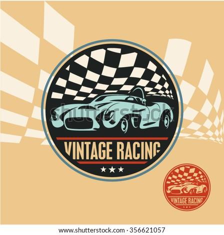 vintage racing car label retro sport stock vector 356621057 shutterstock. Black Bedroom Furniture Sets. Home Design Ideas