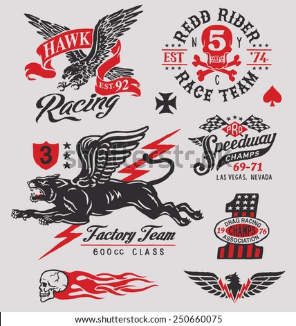 Vintage racing insignia graphics - stock vector