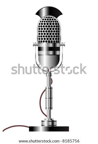Vintage radio microphone isolated over white background - stock vector