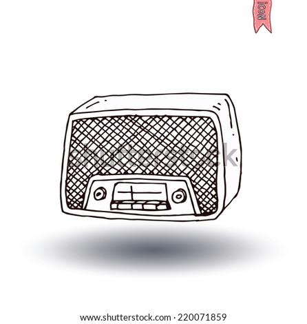Vintage radio, vector illustration - stock vector