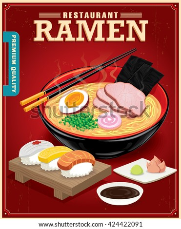 vintage ramen noodles poster design noodle stock vector 272538335 shutterstock. Black Bedroom Furniture Sets. Home Design Ideas