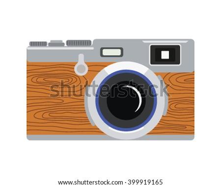vintage rangefinder film camera. Retro camera in a flat style. Vector illustration - stock vector