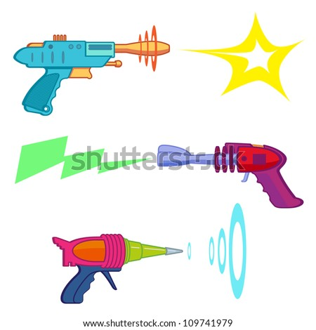 Vintage Ray Gun arsenal / Ray gun - stock vector