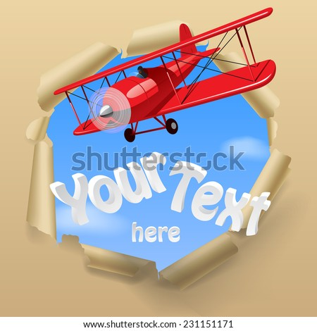 Vintage red airplane with torn paper hole on the sky. Vector illustration - stock vector