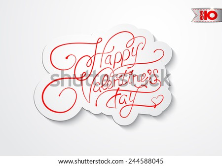Vintage red inscription Happy Valentine's Day - stock vector