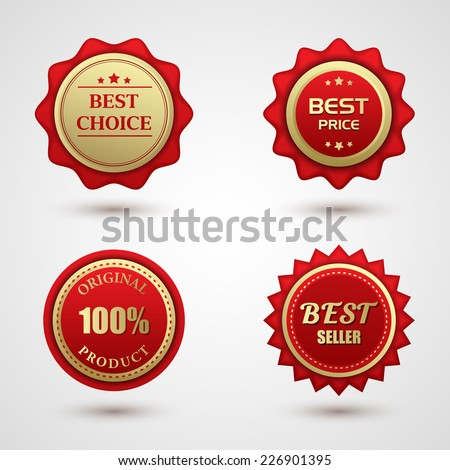 Vintage Red Labels template set. Retro logo design elements.  - stock vector