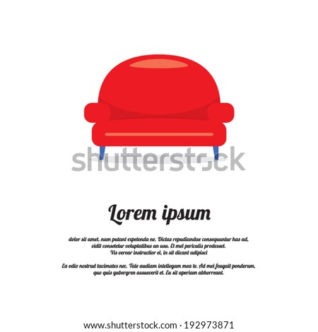 Vintage Red Sofa Vector Illustration - stock vector