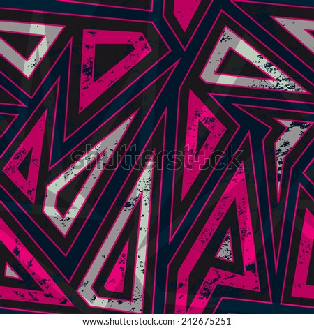 vintage red triangle seamless pattern with grunge effect  - stock vector