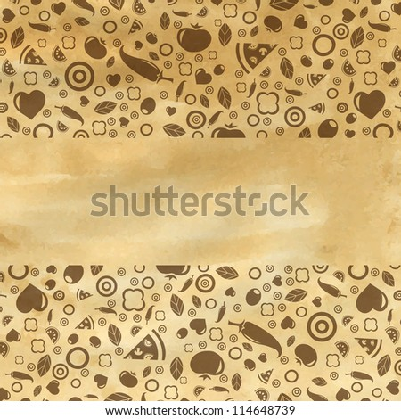 Vintage Restaurant Background With Food Icons, Vector Illustration - stock vector