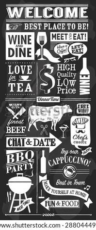 Vintage restaurant chalkboard items - stock vector