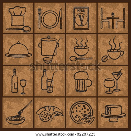 Vintage restaurant icons Restaurant icons on old paper background. - stock vector