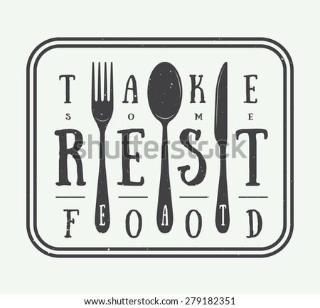 Vintage restaurant logo badge with slogan and design elements - stock vector
