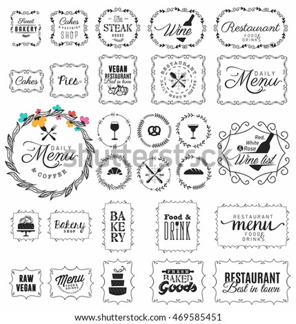 Vintage Restaurant, Menu and Bakery Frame and Label Collection