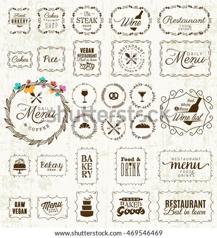 Vintage Restaurant, Menu and Bakery Frame and Label Collection on Grungy Background