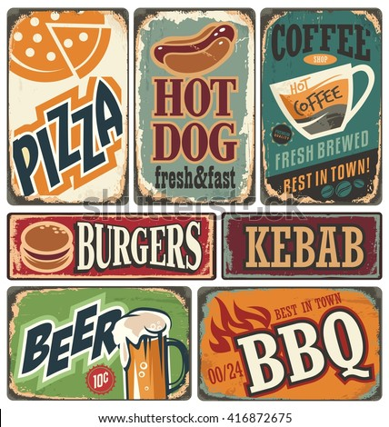 Vintage restaurant signs collection. Retro food posters and design elements. Promotional vector ads set on old scratched background. Burger, Kebab, Pizza, Beer, Coffee, Grill, Hotdog illustrations. - stock vector
