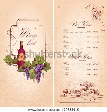 Vintage restaurant wine list card menu template vector illustration - stock vector