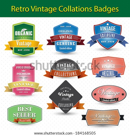 Vintage retro badges and labels
