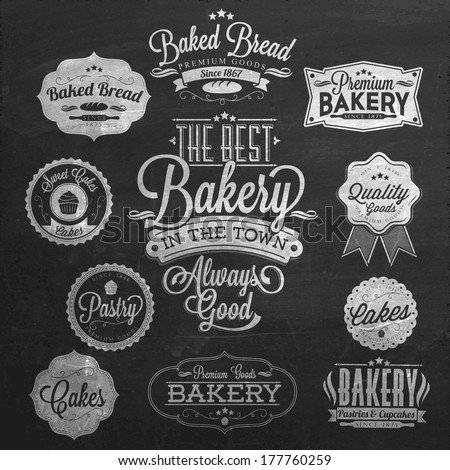 Vintage Retro Bakery Badges And Labels On Chalkboard - stock vector