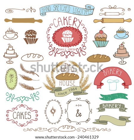 Vintage Retro Bakery Badges,Labels,logos.Colored hand sketched doodles and design elements (bread, loaf, wheat ear, cake icons,border,ribbon). Easy to make logo.Vector - stock vector