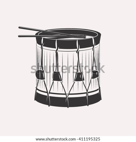 Vintage retro bass drum with drumsticks napoleon civil war victorian era isolated on white background - stock vector