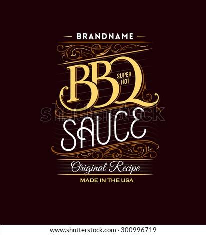 Vintage retro BBQ label - stock vector