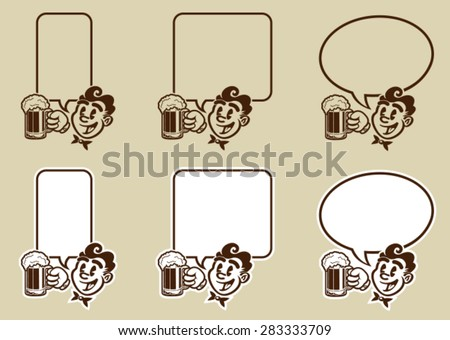 Vintage Retro Beer Character Dialog Bubble  - stock vector
