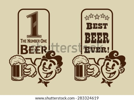 Vintage Retro Best Beer Character - stock vector